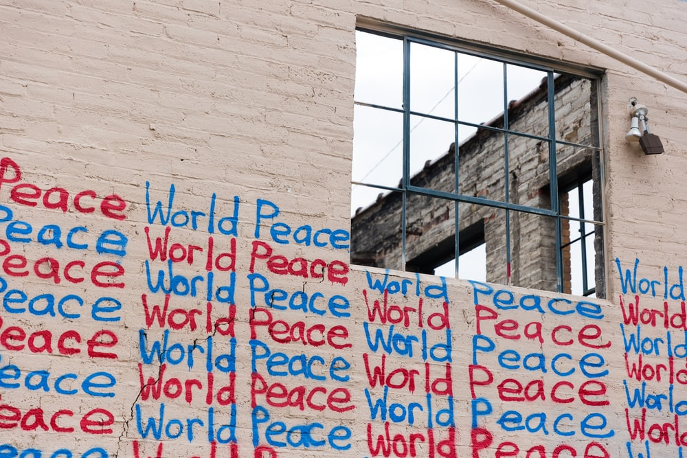 world peace sign on wall
