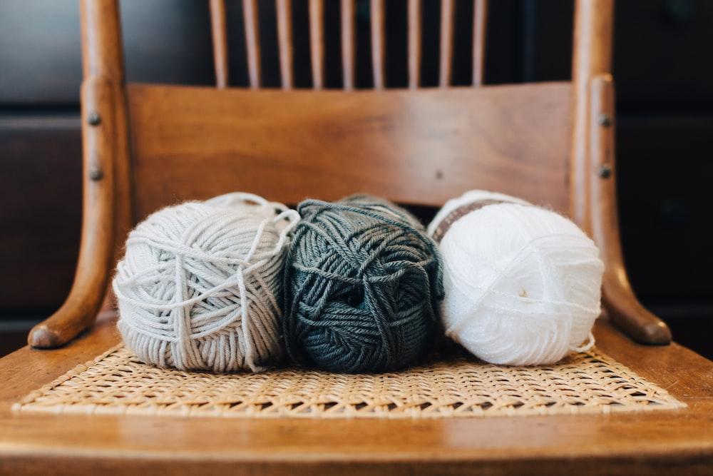 white yarn ball on chair