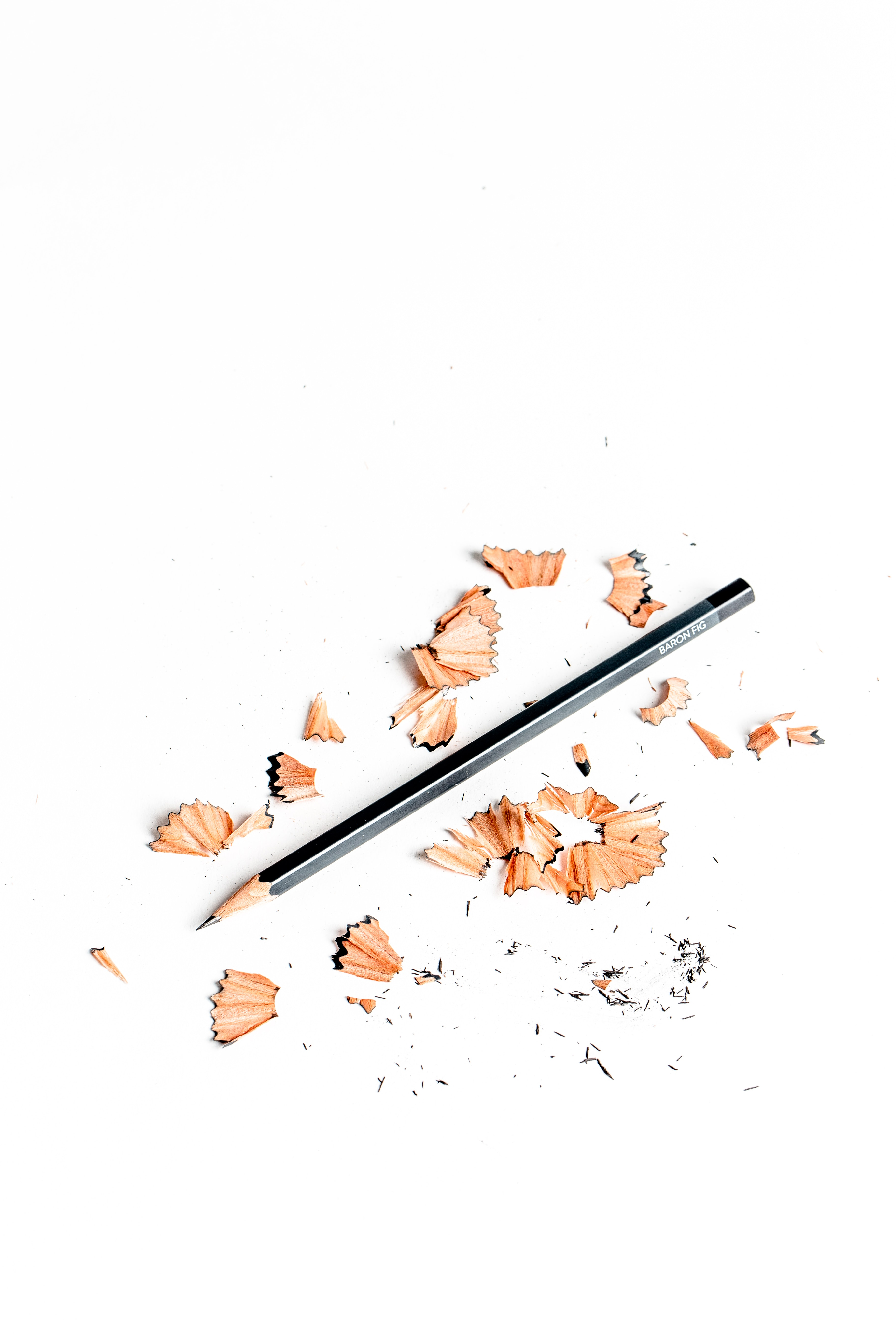 black pencil surrounded by pencil husk