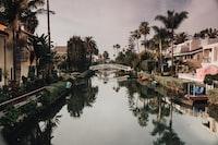 river between houses
