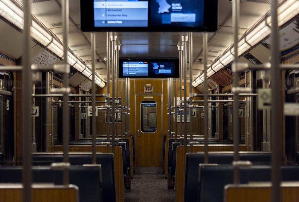 flat screen TV inside train