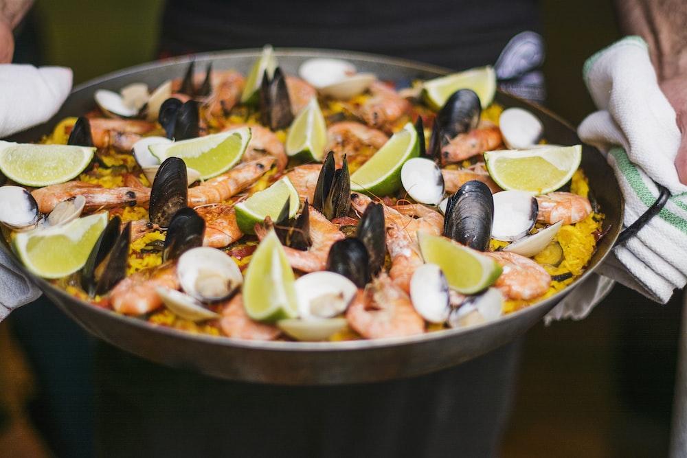 shrimp dish with slice of lemon