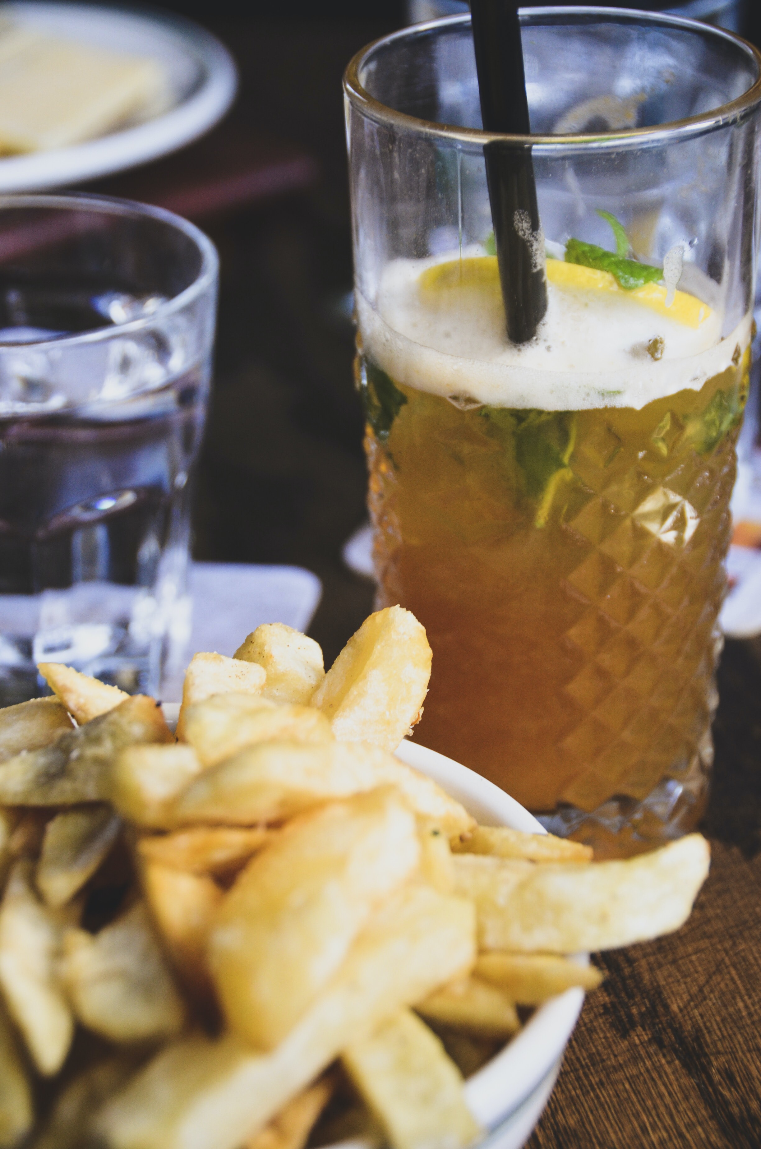 french fries and glass of juice