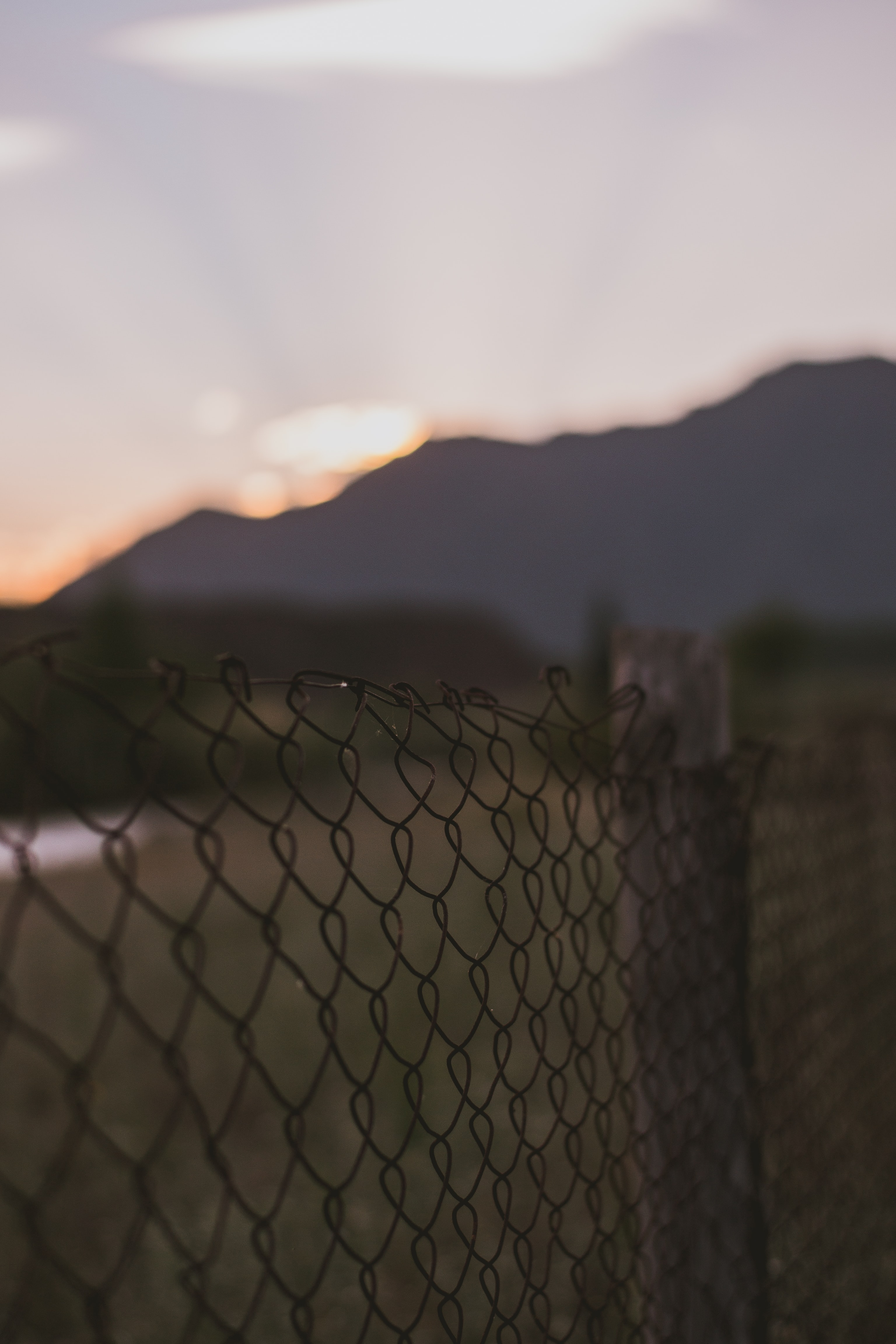 selective focus photo of black chain link fence
