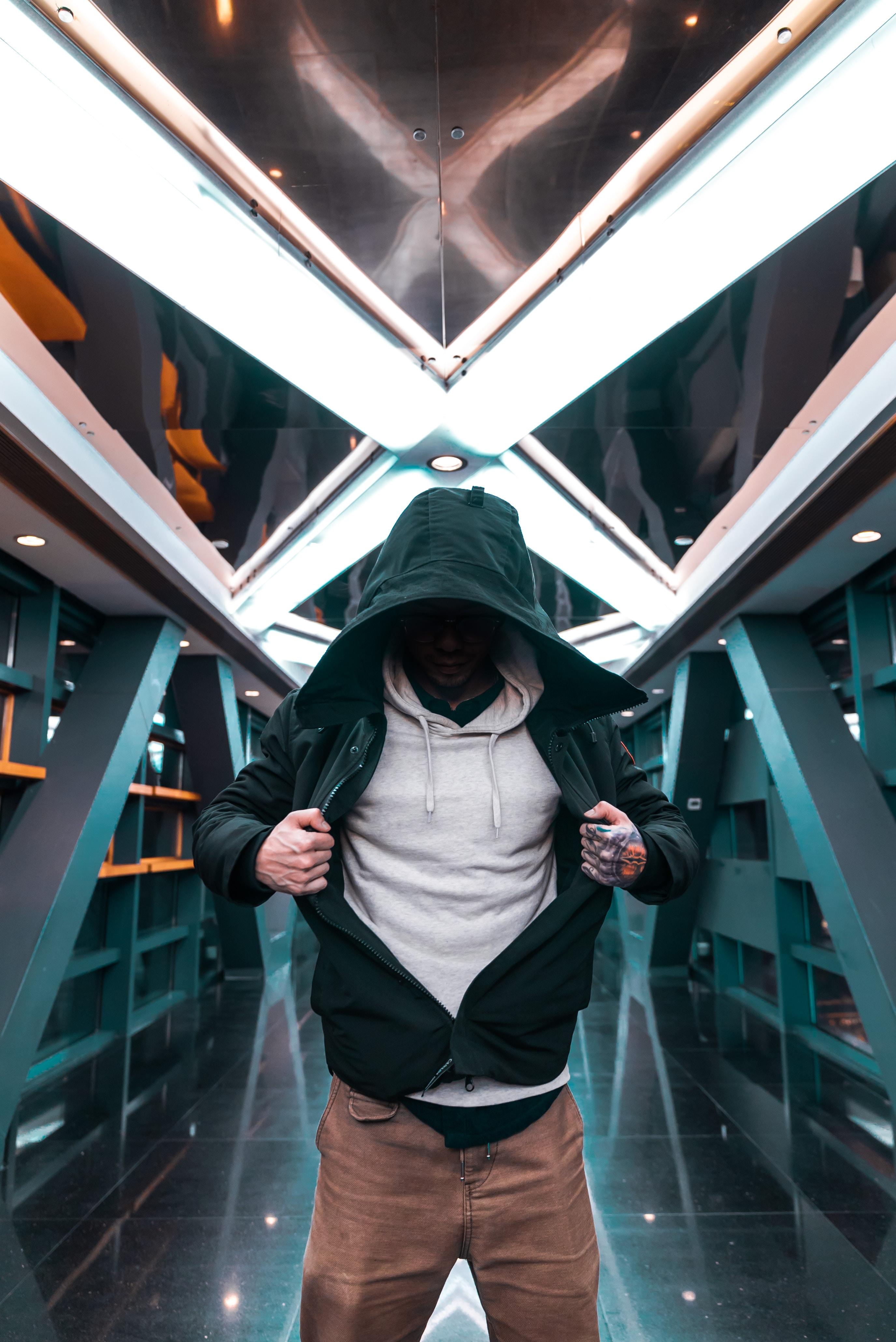 man holding his green hoodie
