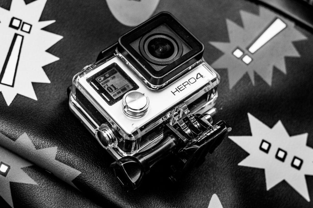 grayscale photo of Go PRO HERO4 action camera