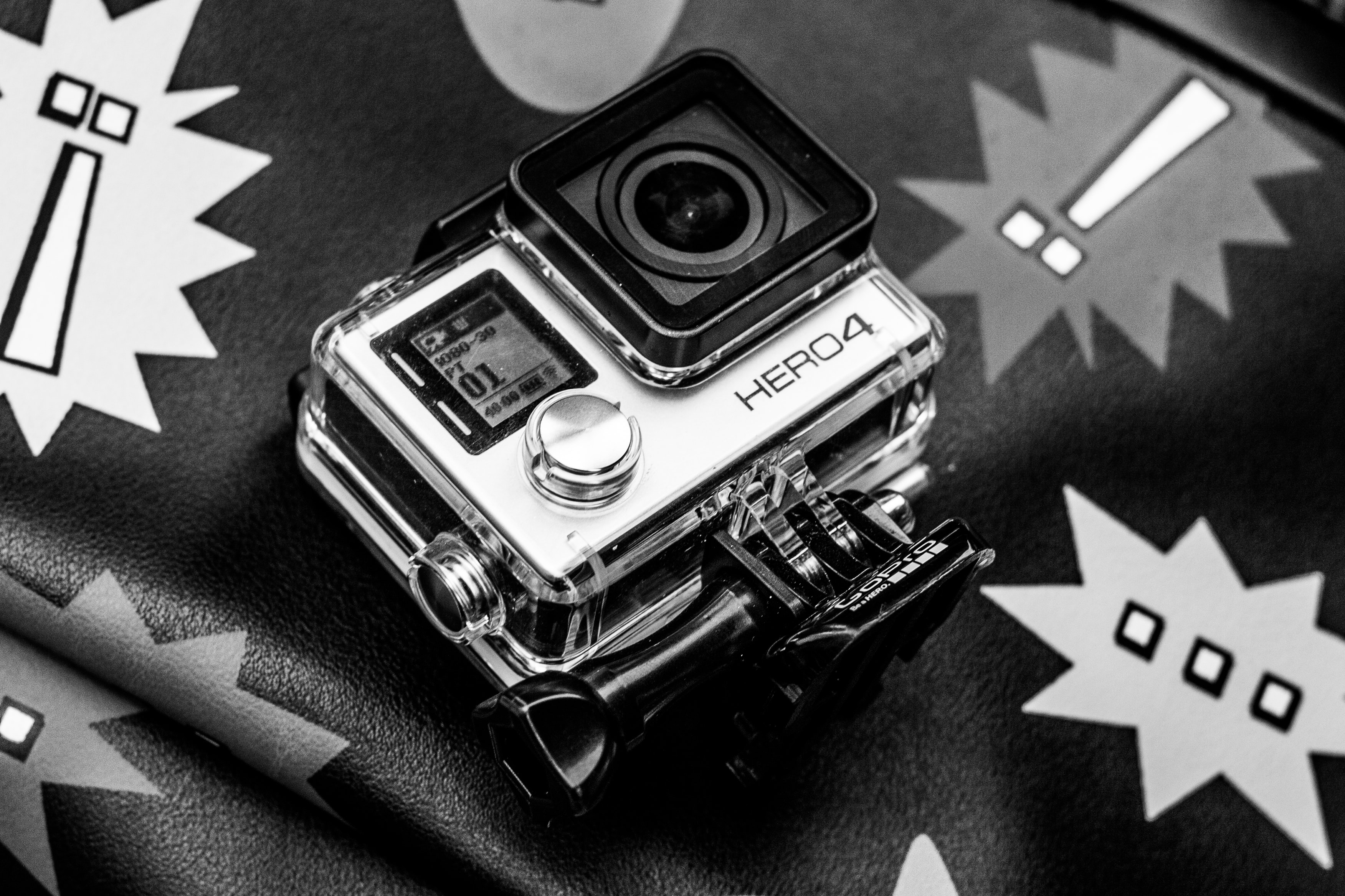 grayscale photo of Go PRO HERO4 action camera