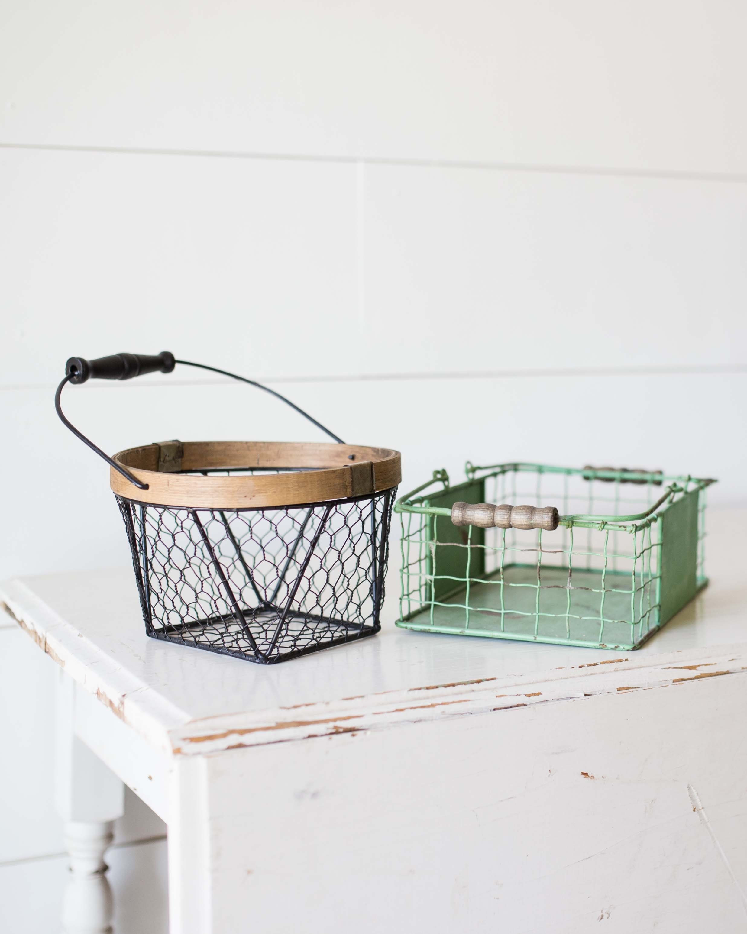 brown and green baskets on table
