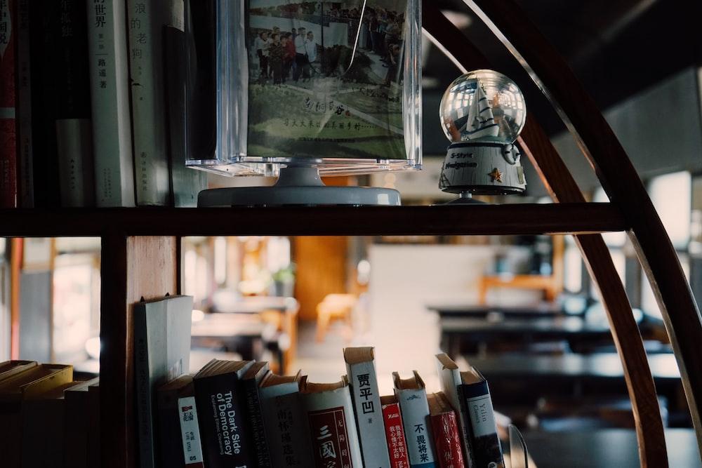 closeup photo of books on shelf