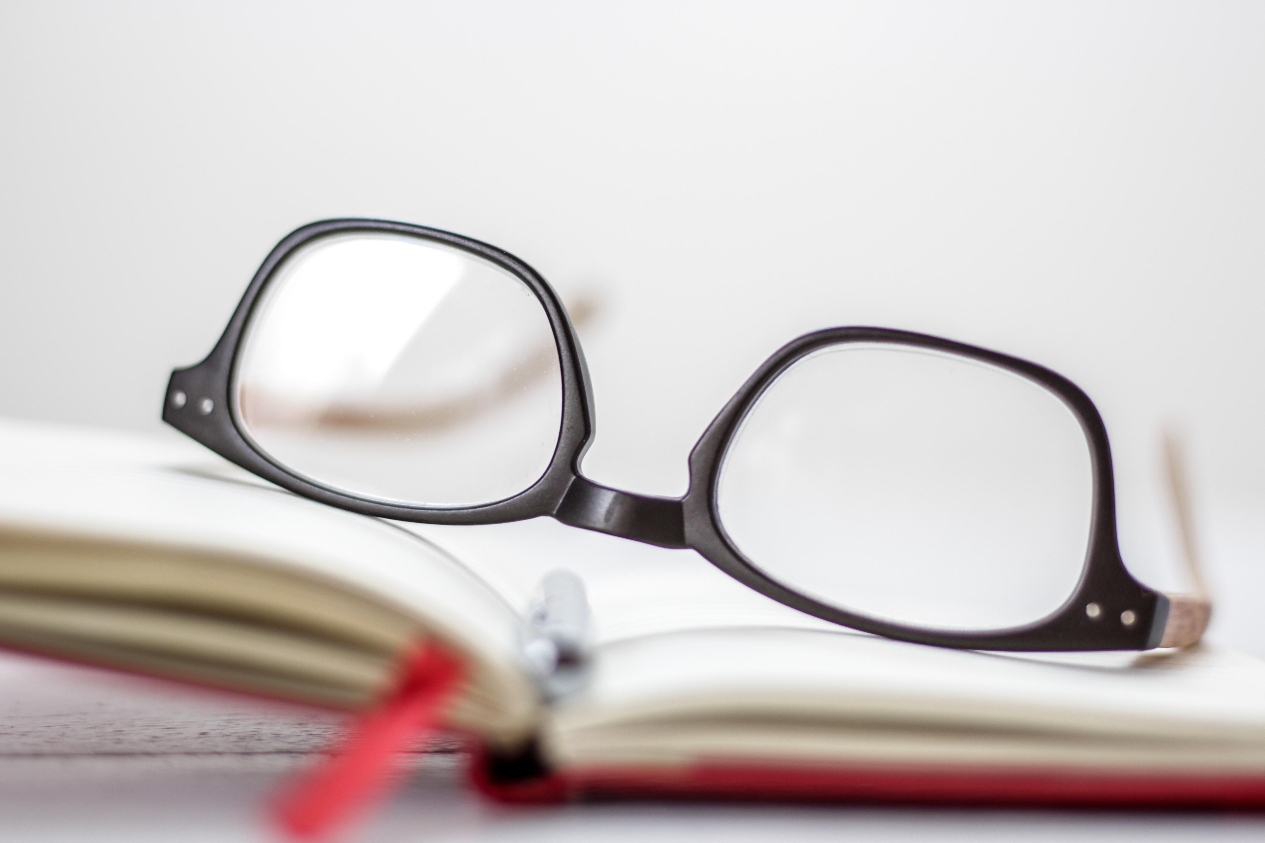 clear eyeglasses with black frames