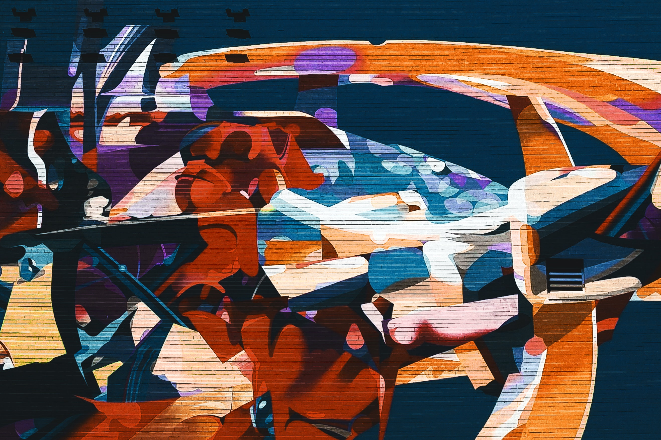 orange, blue, and white abstract art