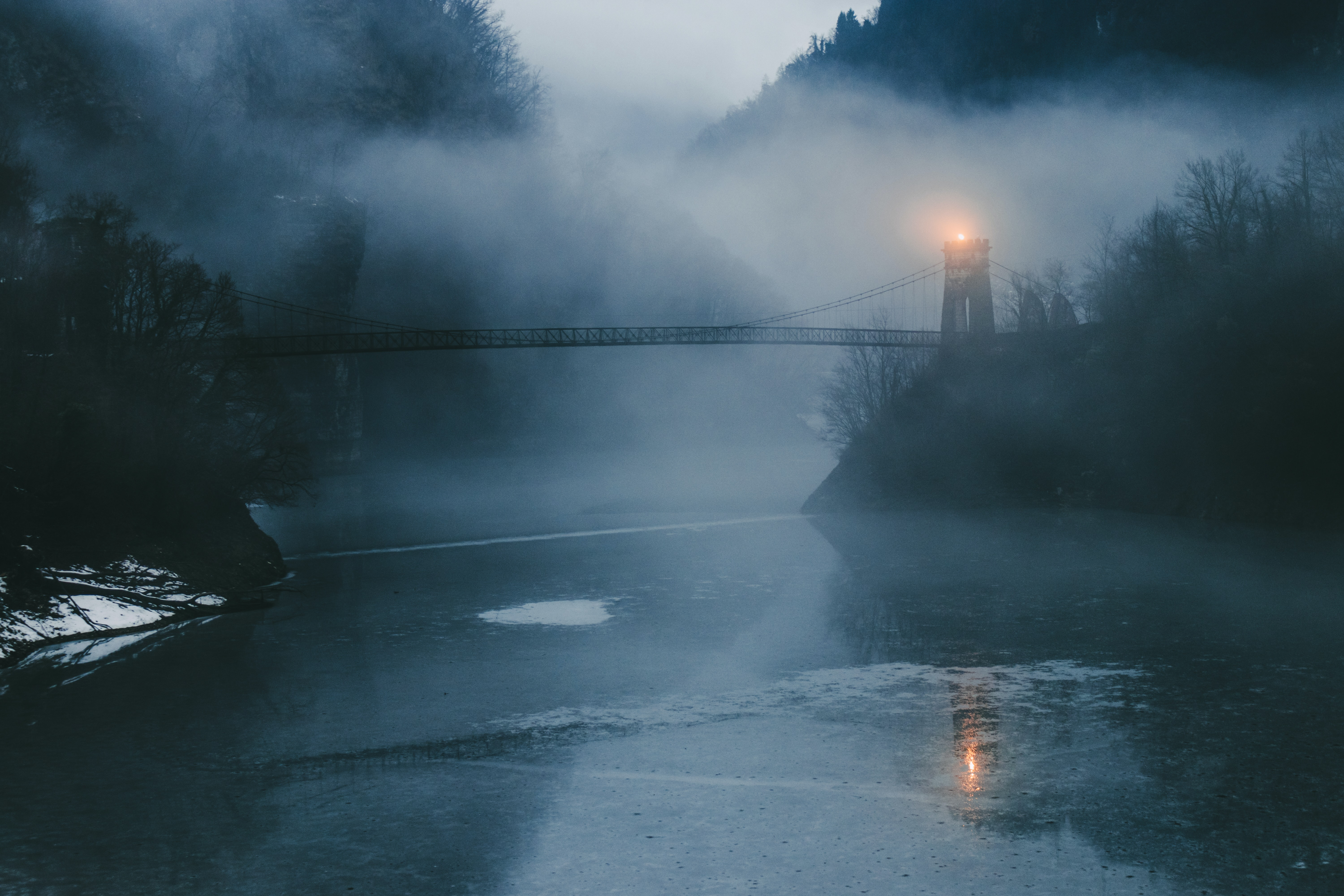 bridge with watchtower with fogs