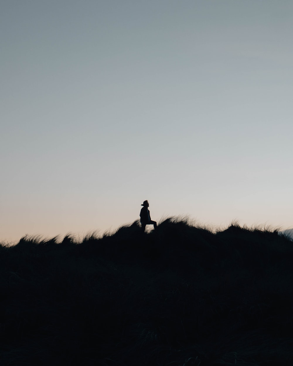 silhouette of person standing on hill at daytime