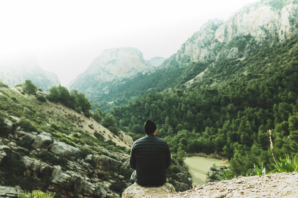 man sitting on rock looking at green trees in mountains