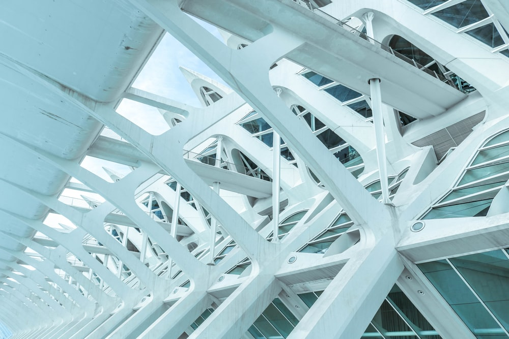 architectural photo of white metal beams