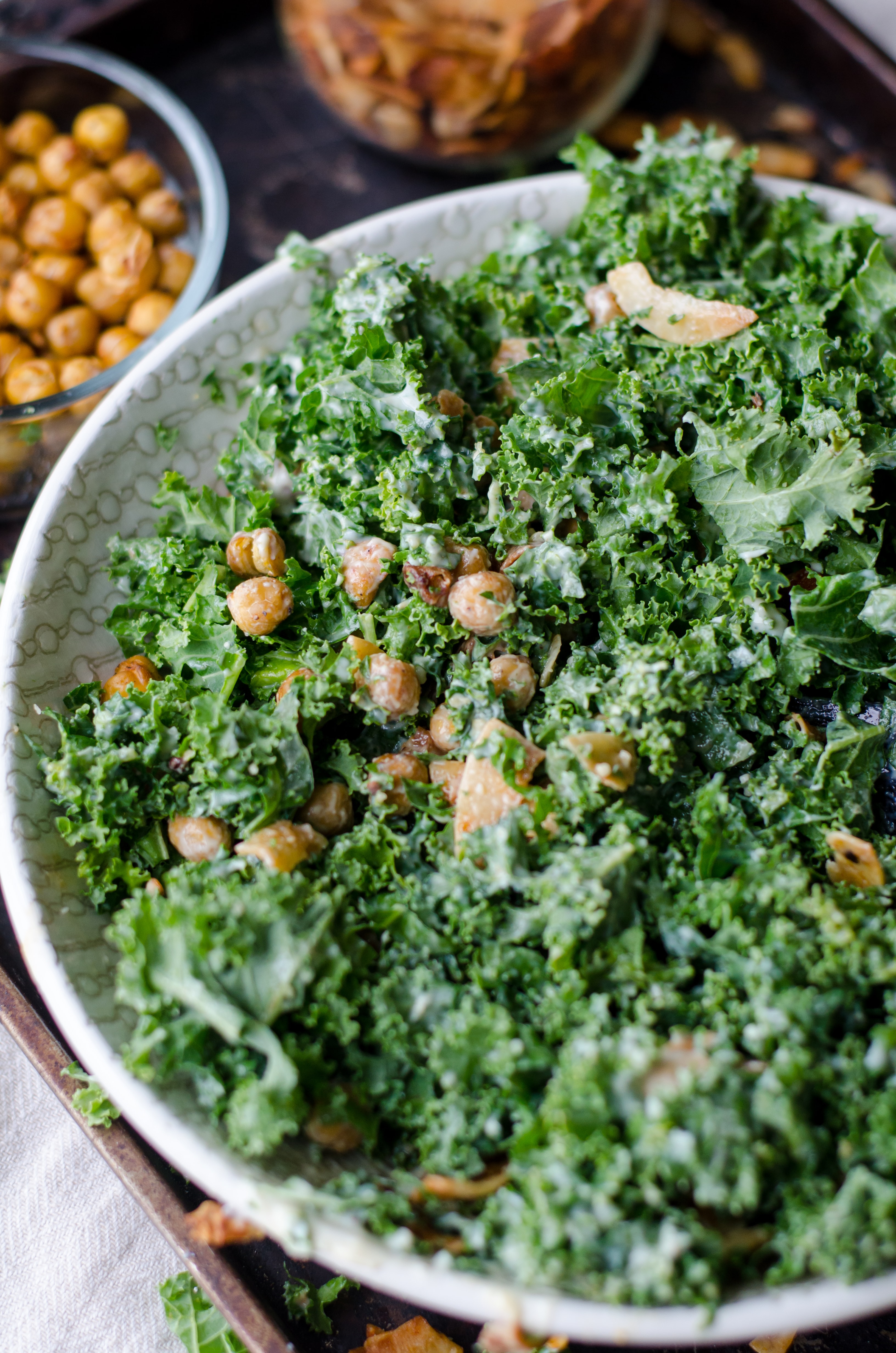nuts and parsley in a bowl
