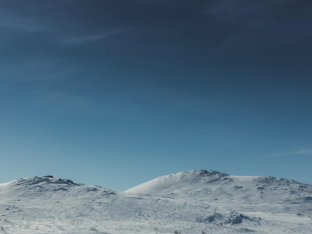 white snowy land under blue sky