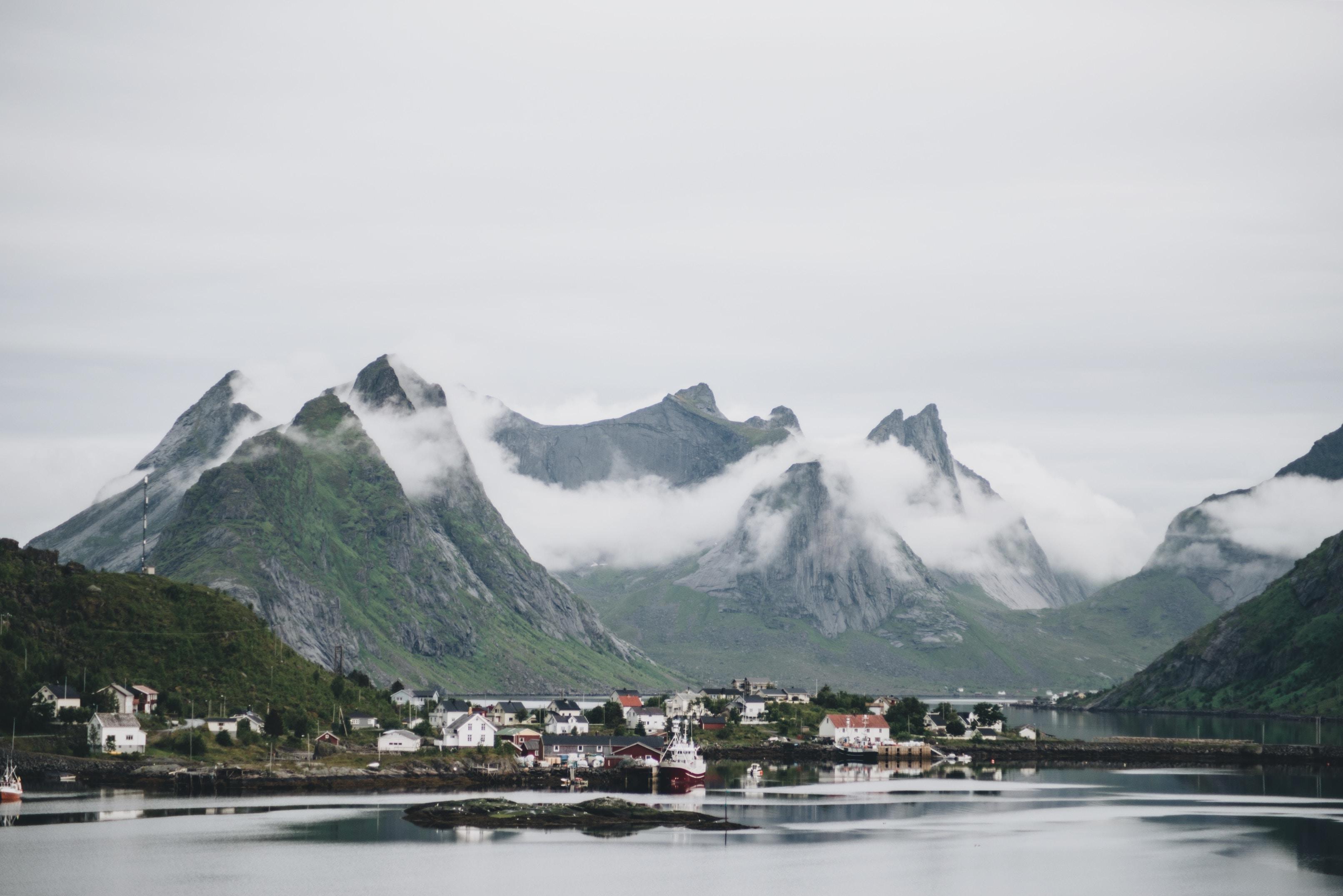 photo of town near mountains