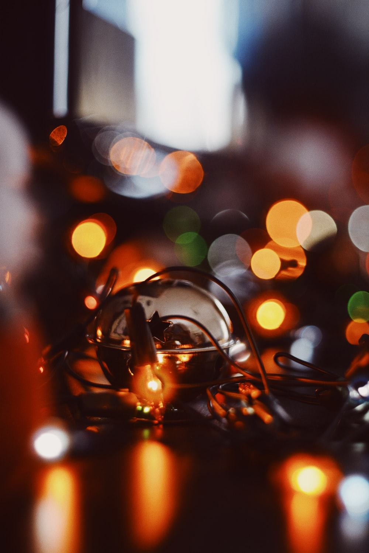 string lights lighted on black surface