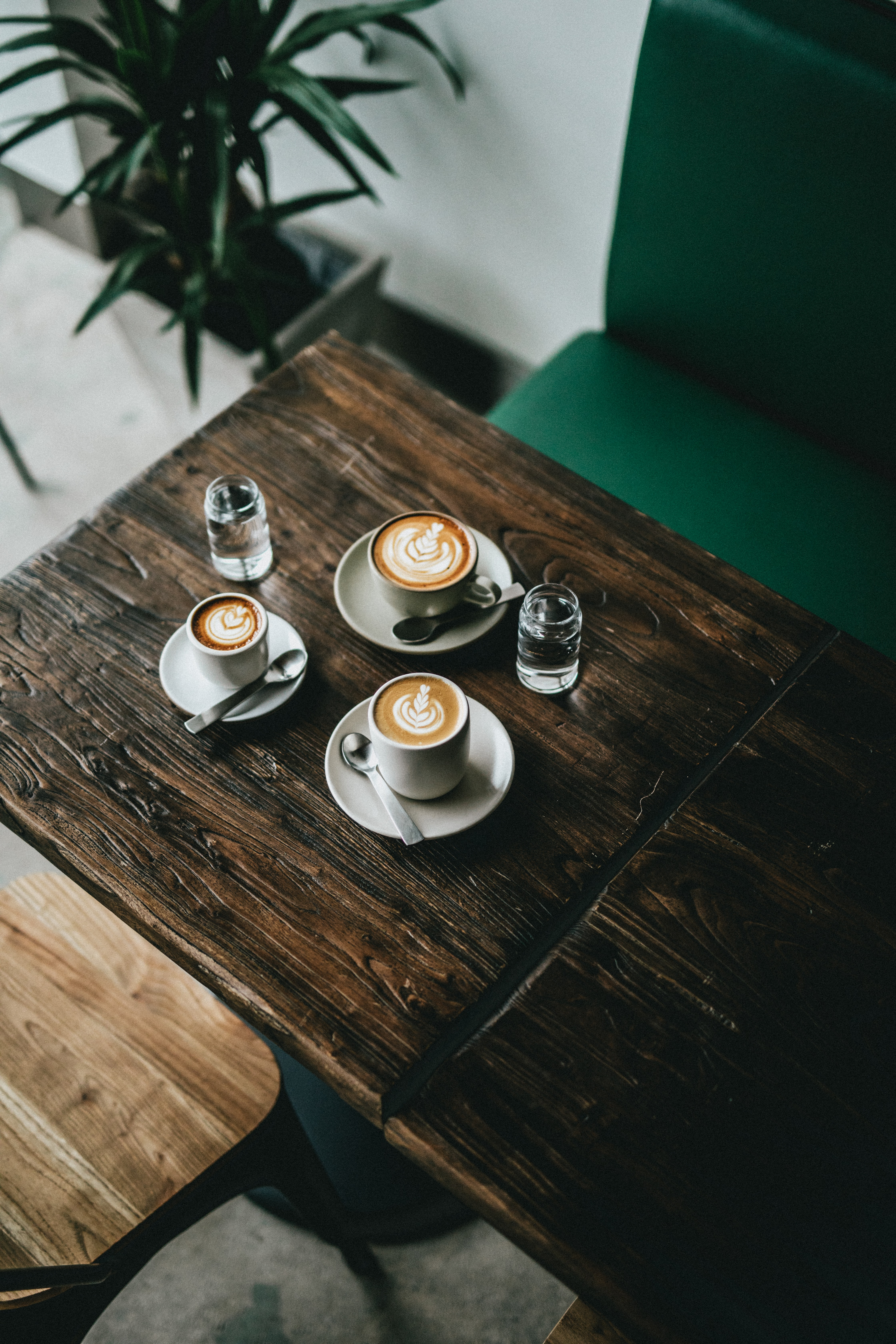three latte arts in cup