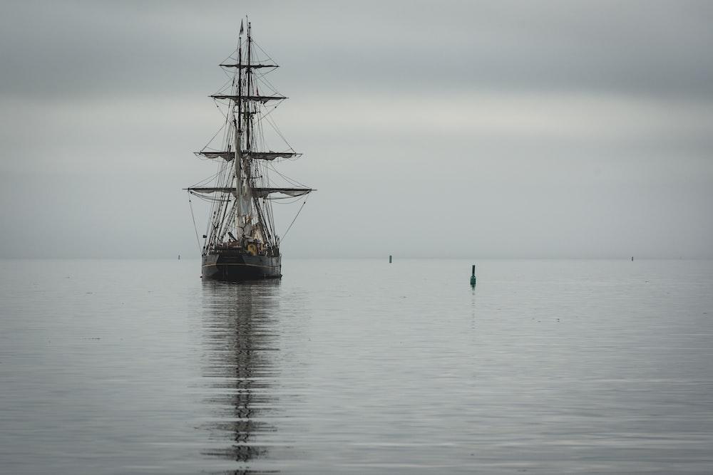 galleon ship cruising on water