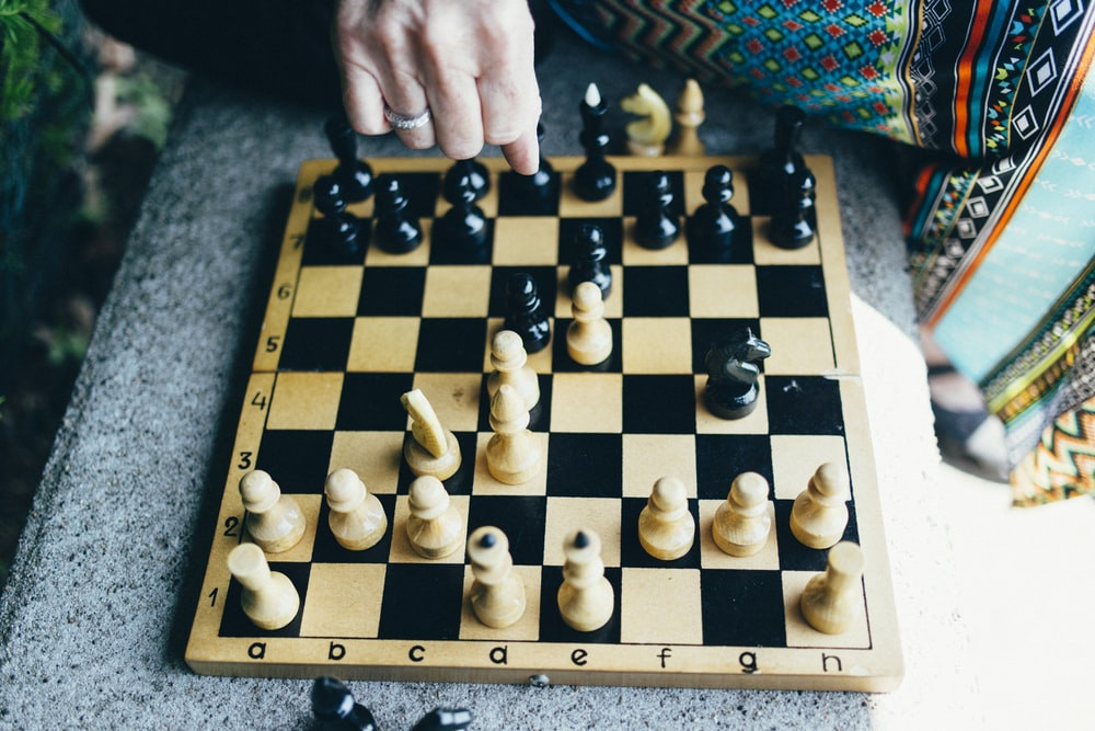 person playing chess