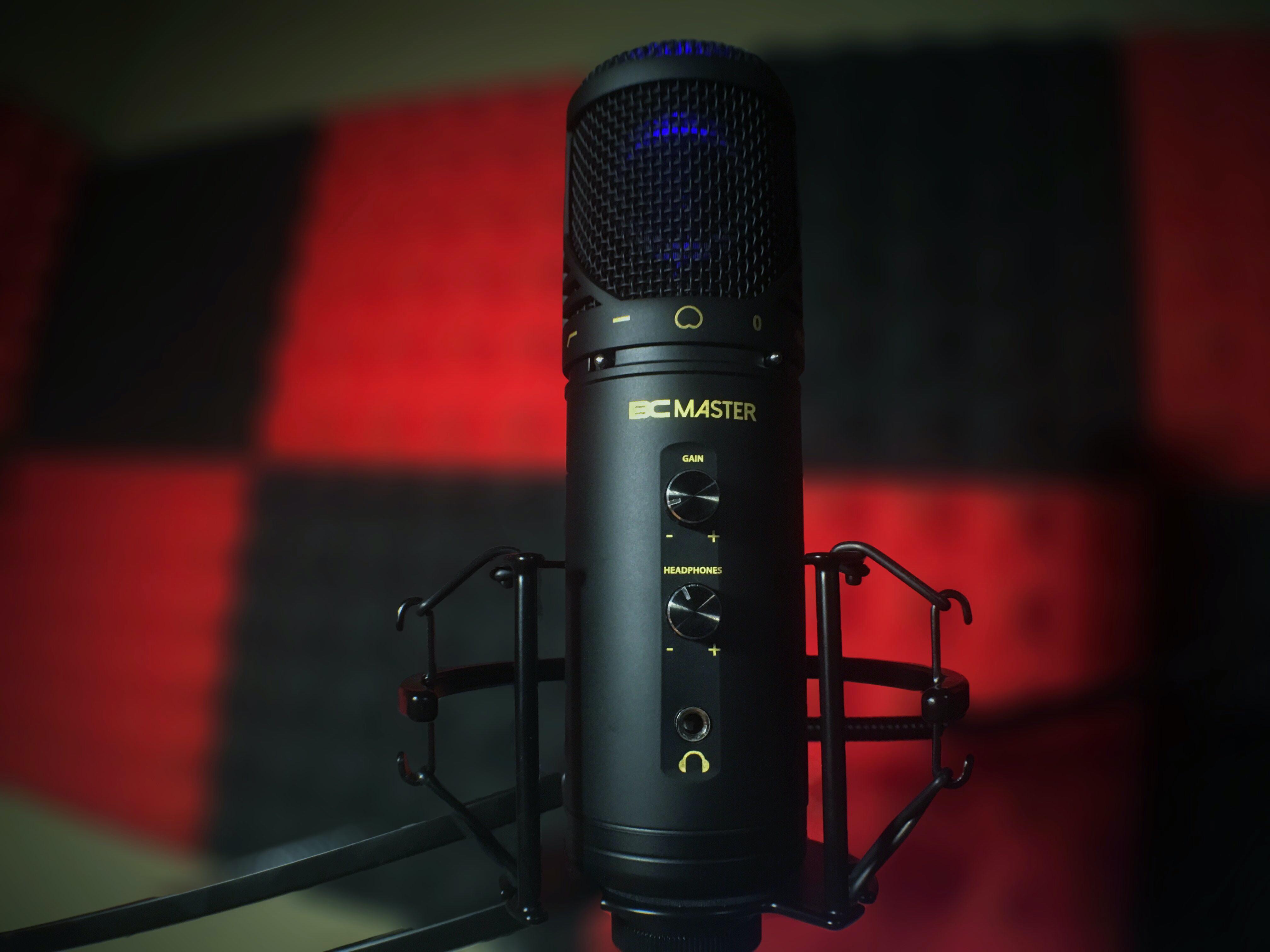black BC Master condenser microphone selective focal photo