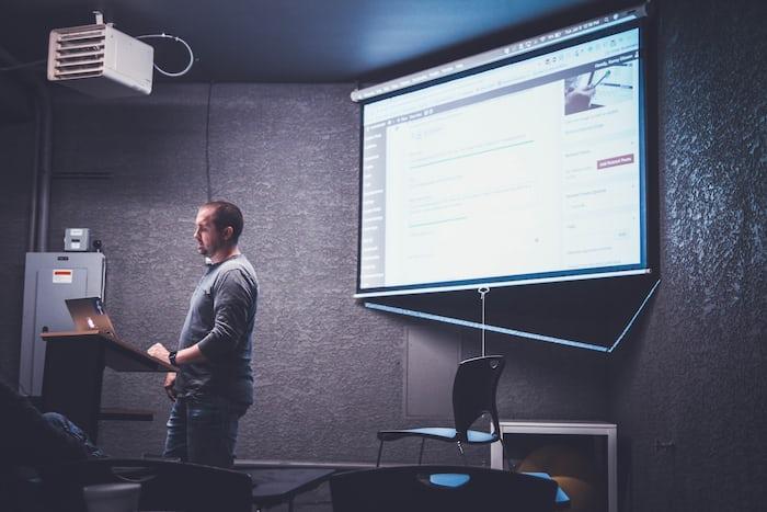A man doing a presentation