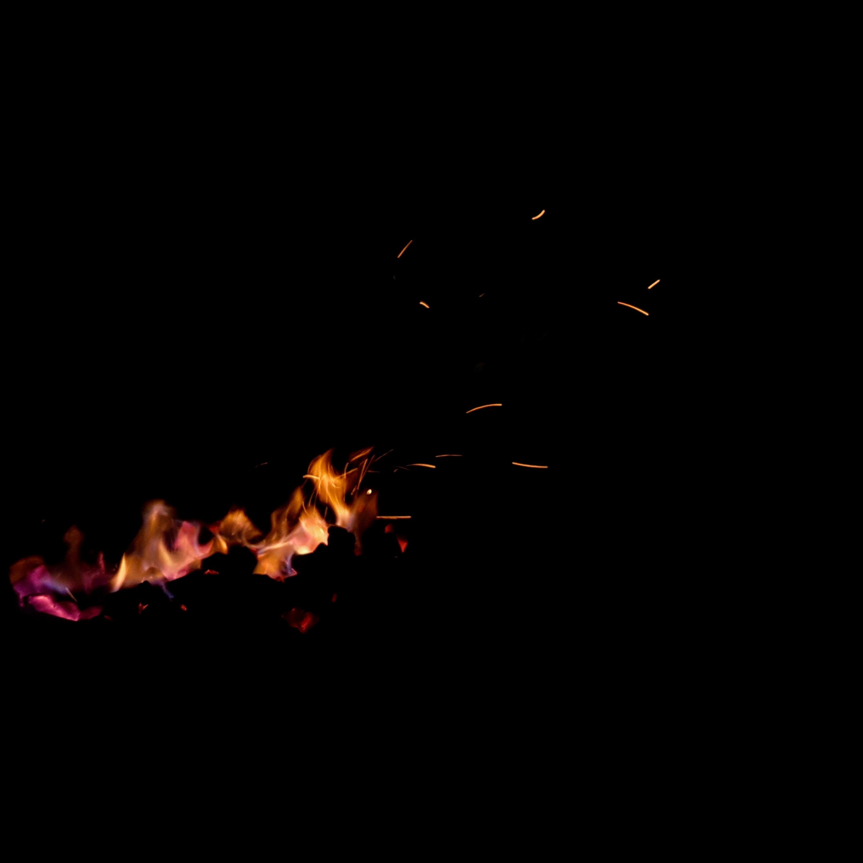 bonfire in black background