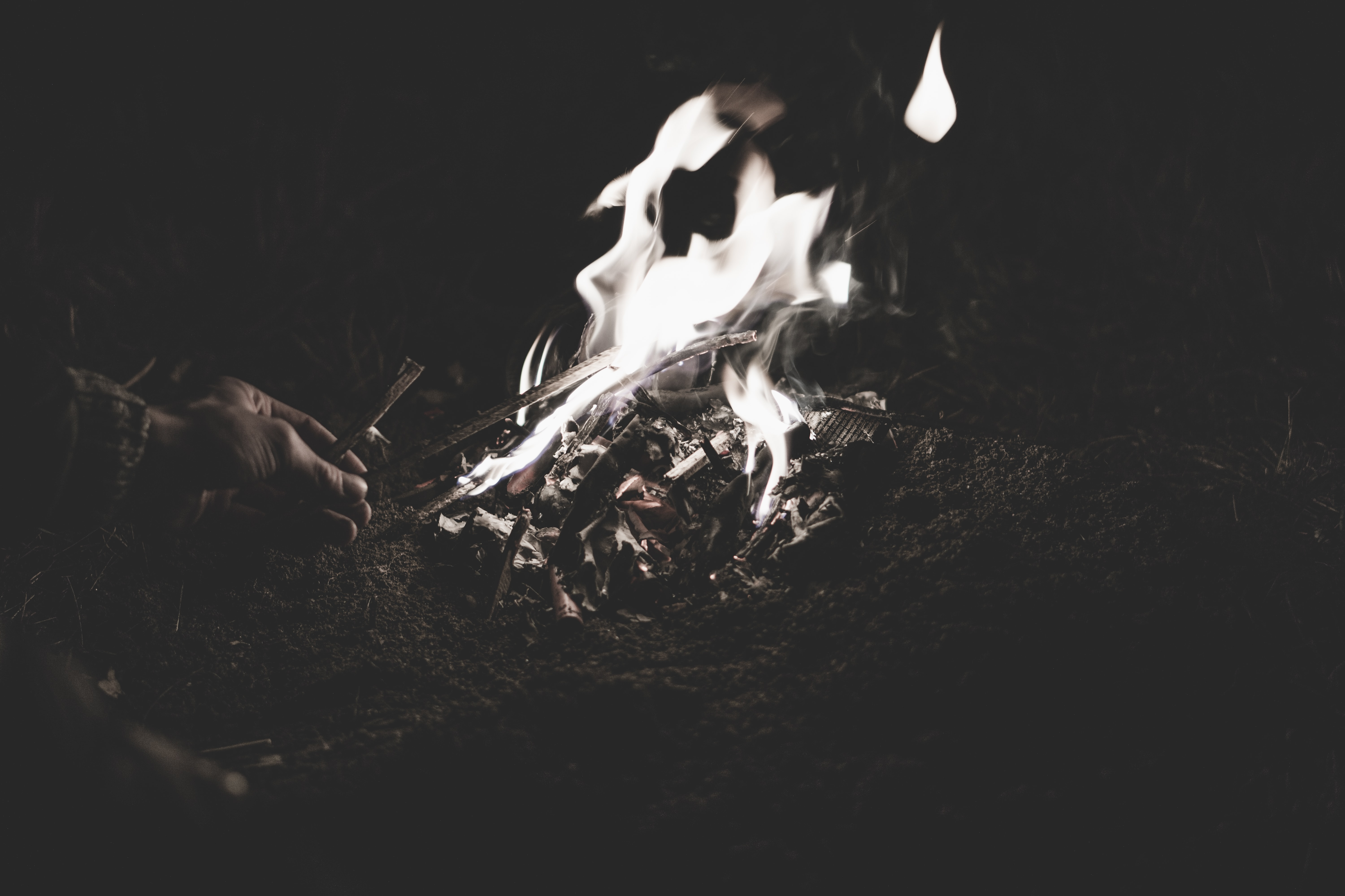 grayscale photography of bonfire