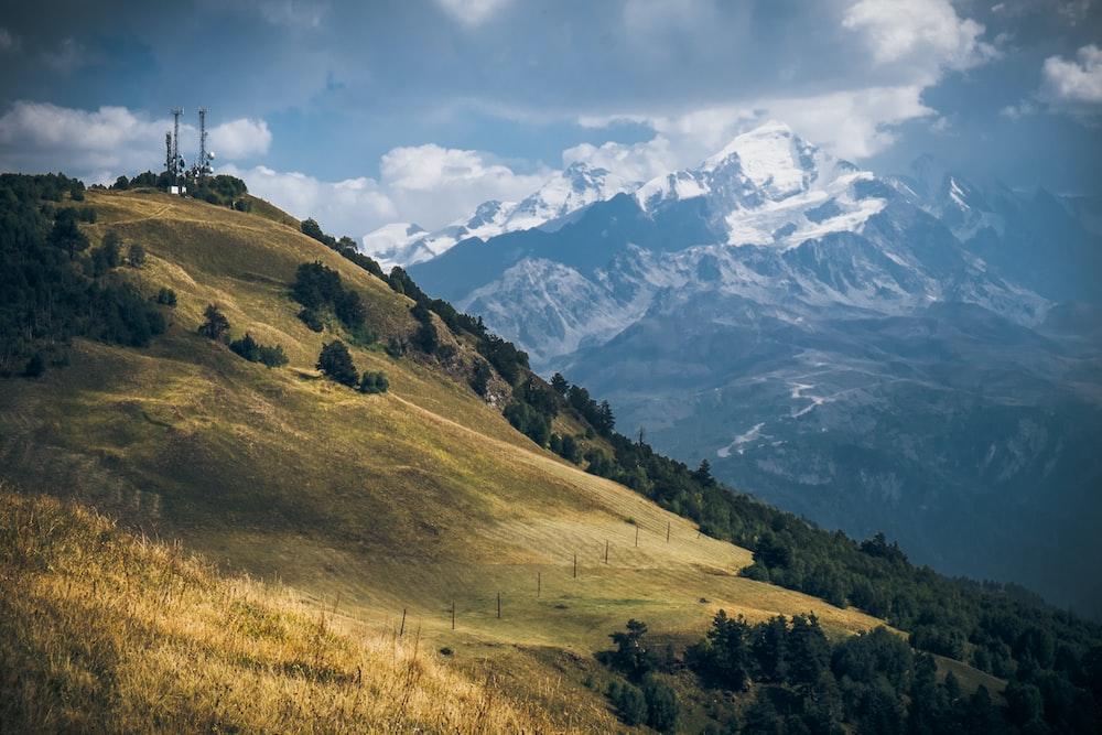 landscape photography of mountain range