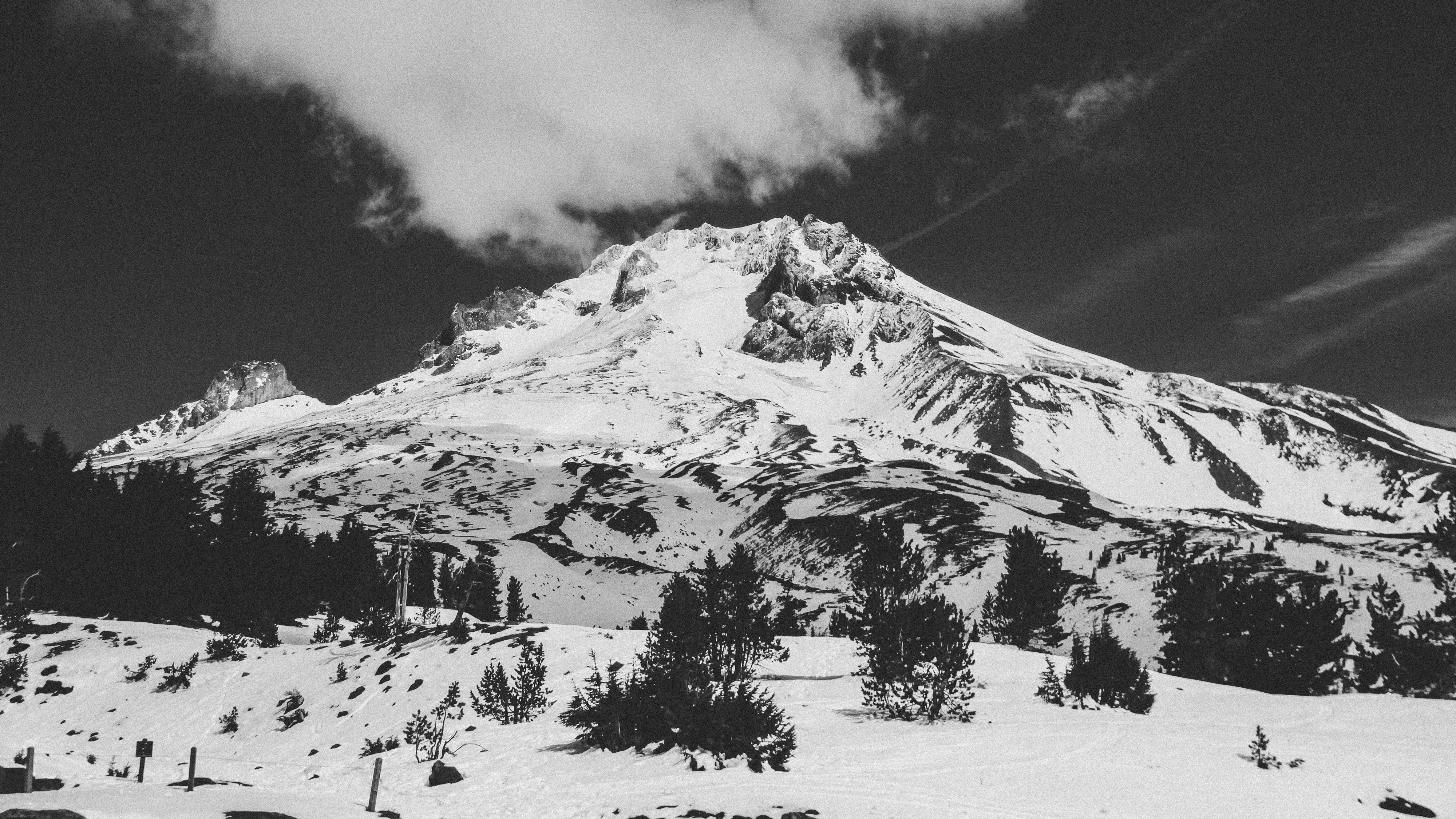 grayscale photography of snow mountain