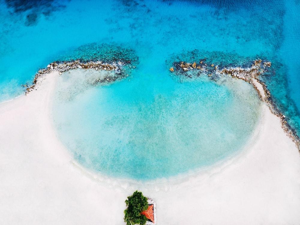 bird's eye view of naked island