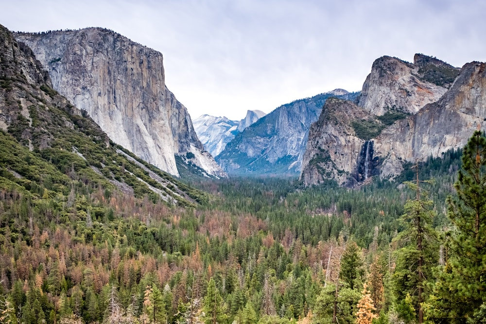 landscape photography of mountain formations and green leafed trees