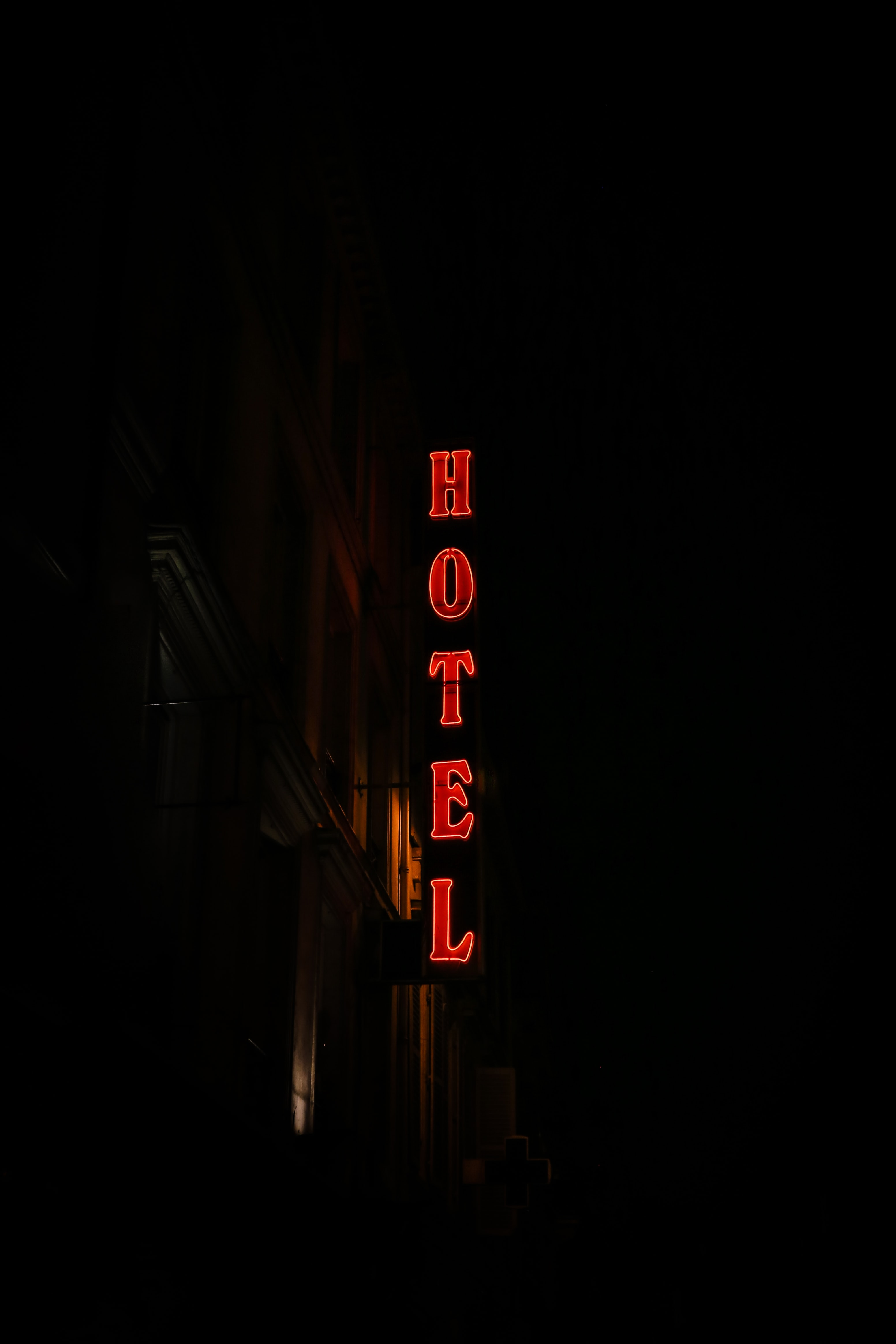 low-angle photography of Hotel signage