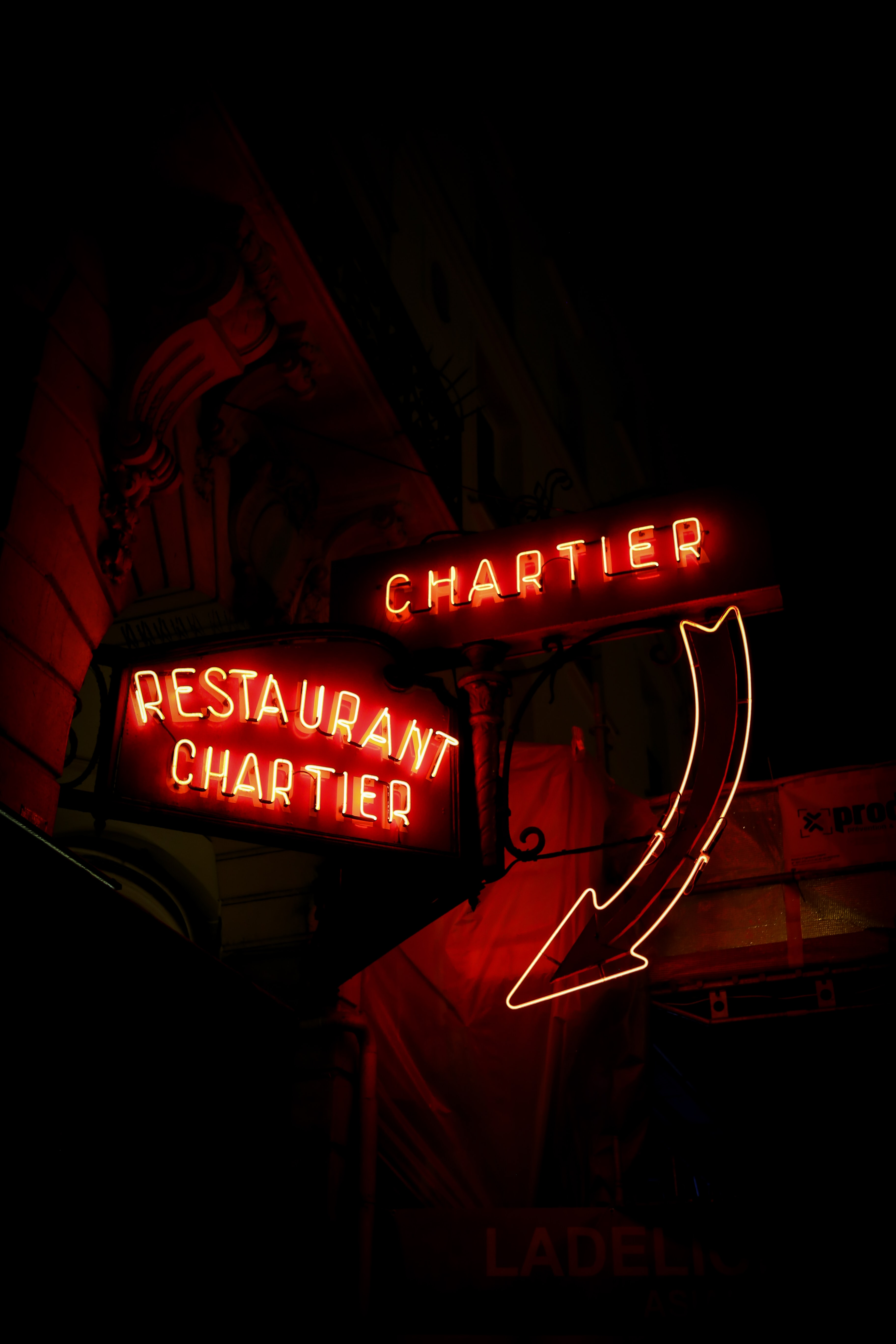 lighted red chartier LED signage