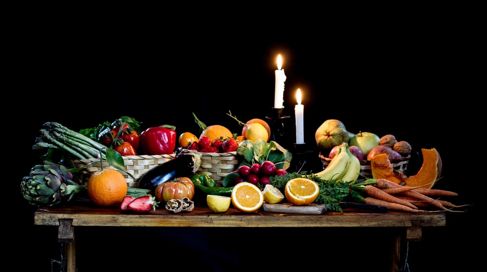 assorted fruit lot on brown wooden table