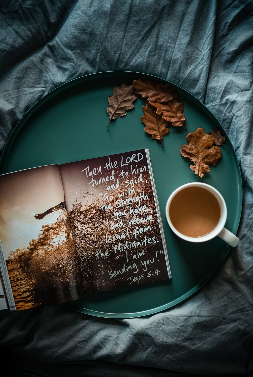 flat lay photography of cup and book