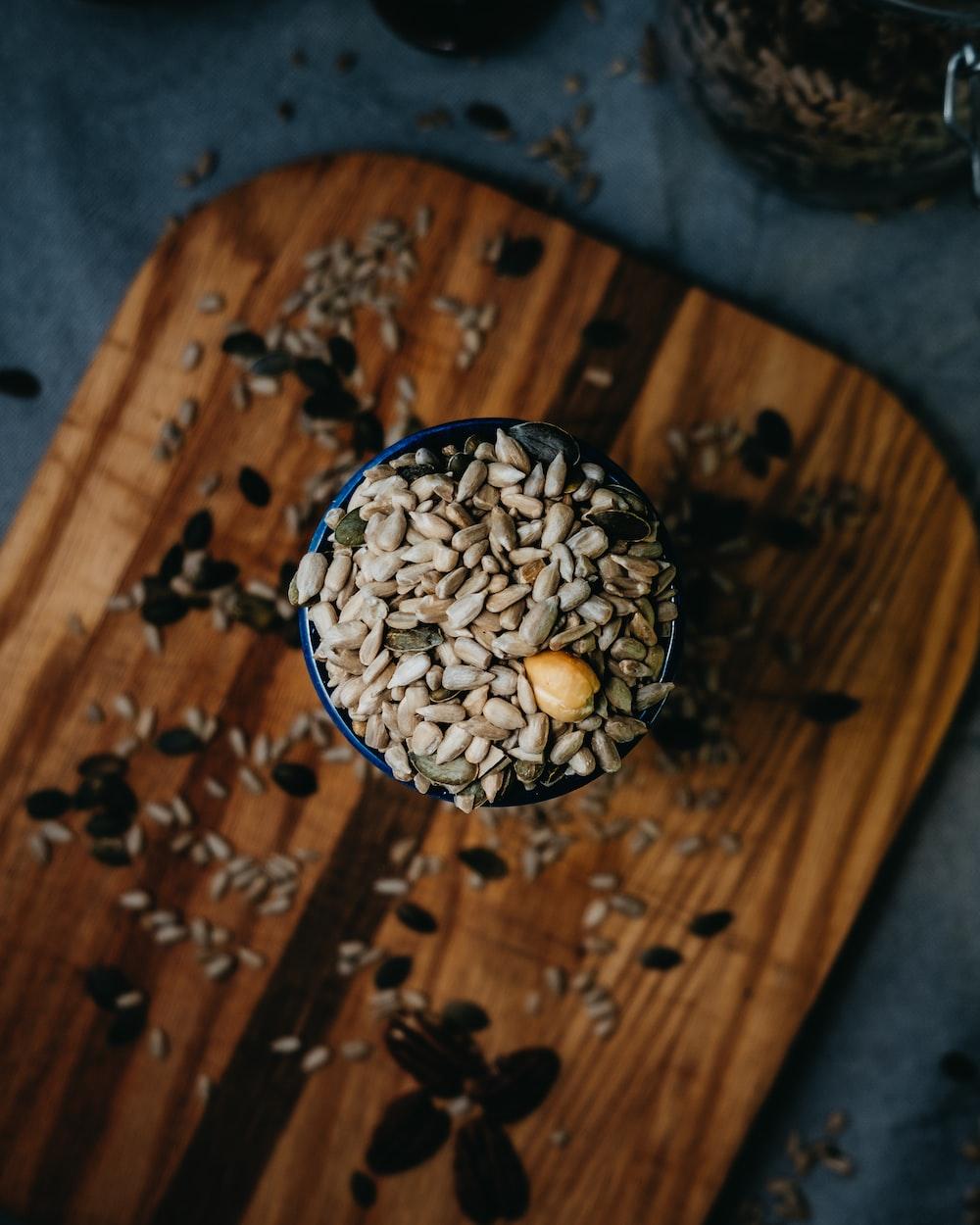 brown nuts on black cup