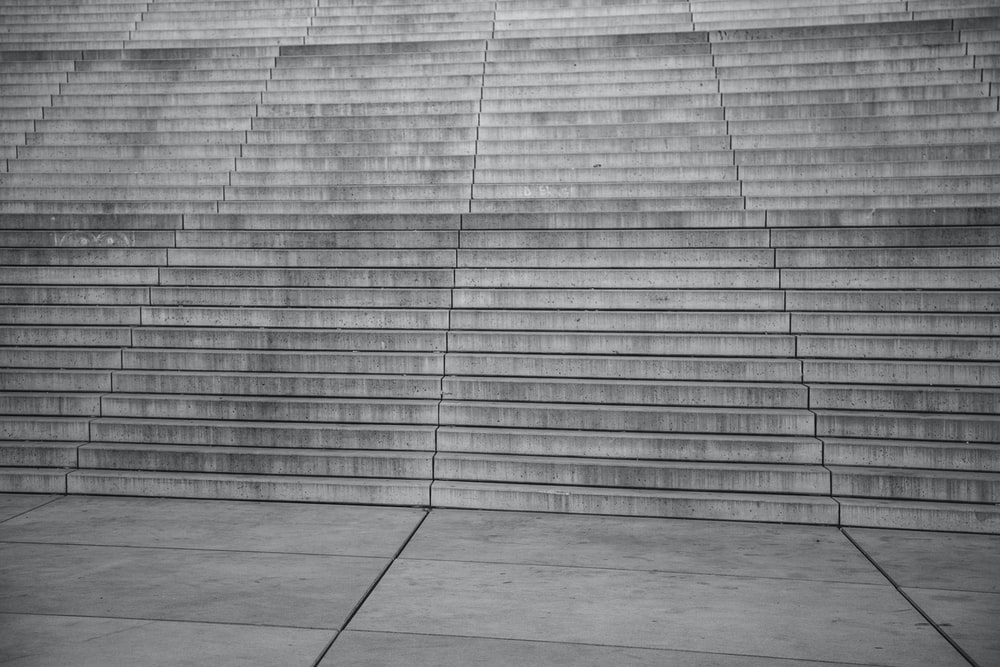 empty white and grey concrete stairs