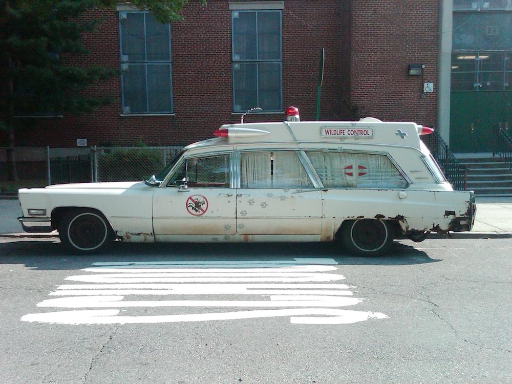 white station wagon