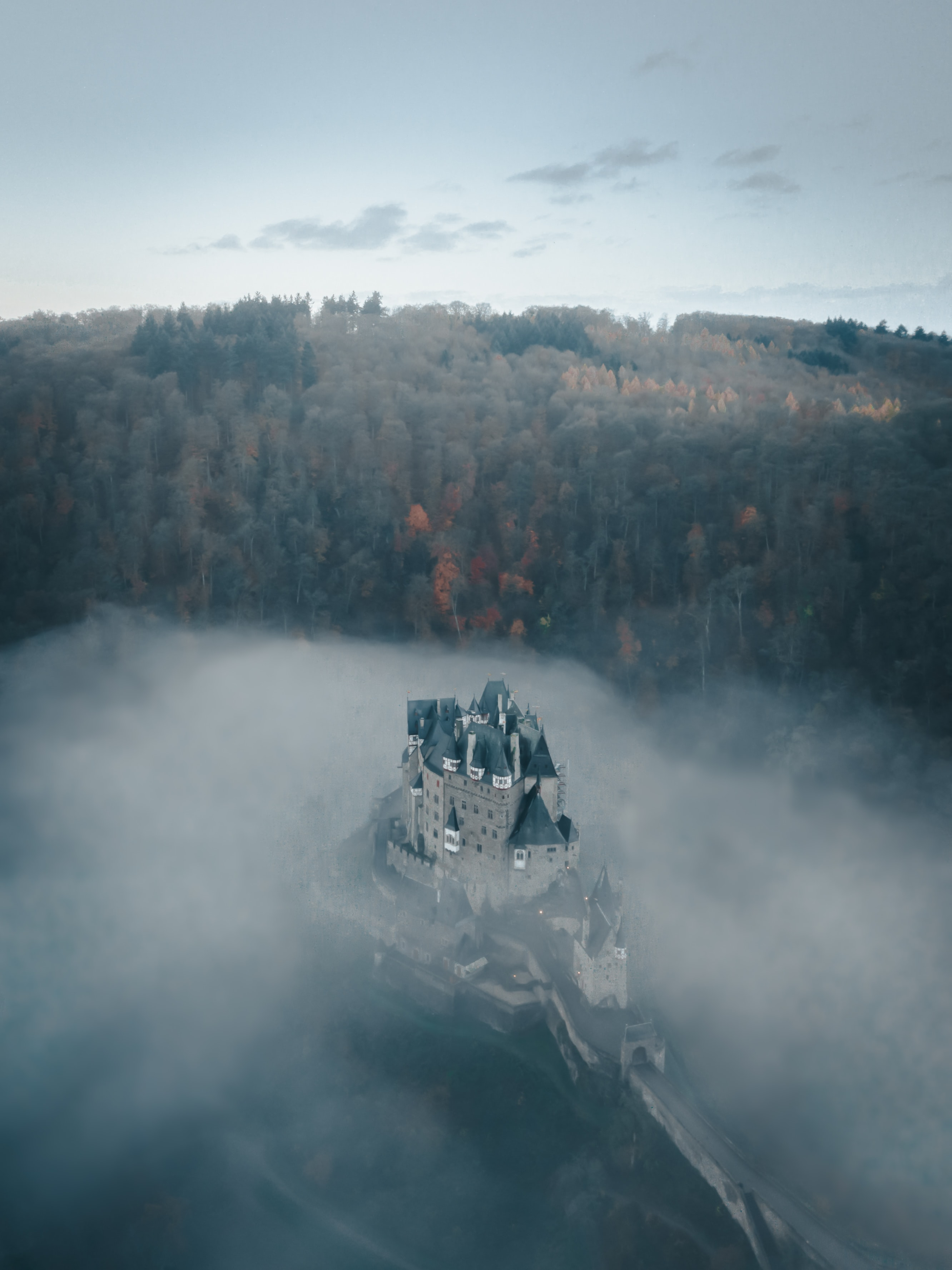 gray castle surrounded by fog and trees