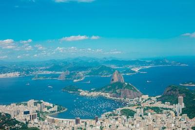 aerial photography of buildings near blue sea and mountains rio de janeiro teams background