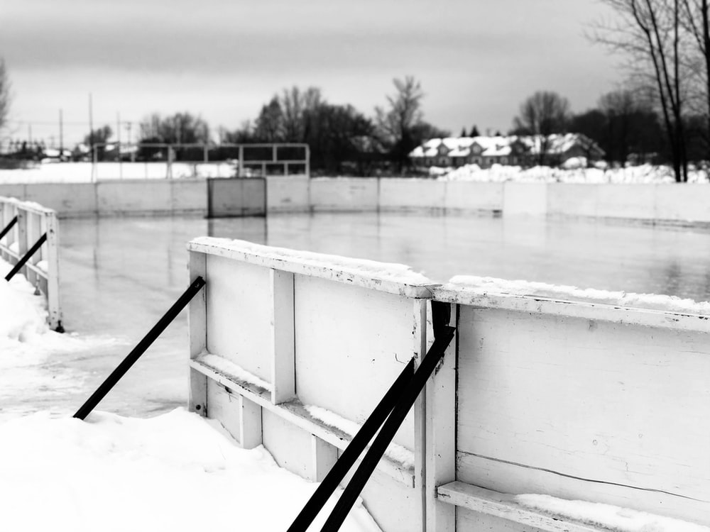 grayscale photography of skate park