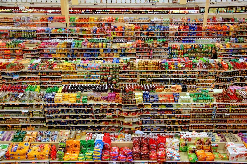 high-angle photography of grocery display gondola