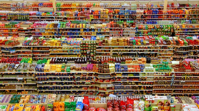 high-angle photography of grocery display gondola