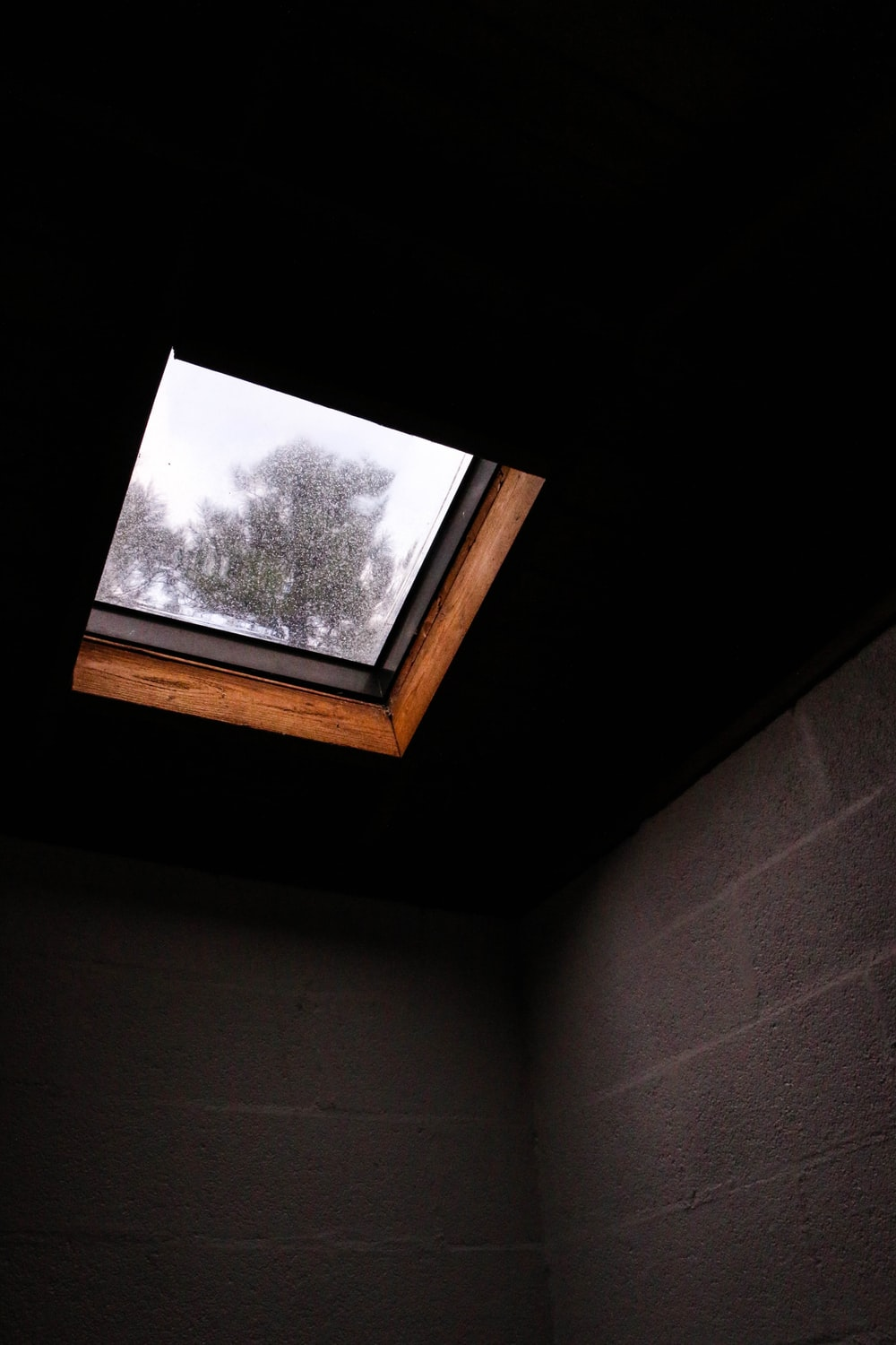 brown concrete wall under roof window inside room