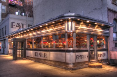 This is an external picture of the Empire Diner in the Chelsea neighborhood of Manhattan. The Executive Chef is Amanda Freitag, an old friend. I took this picture the evening before the grand opening. Used HDR 3 shots merged with Photomatix.