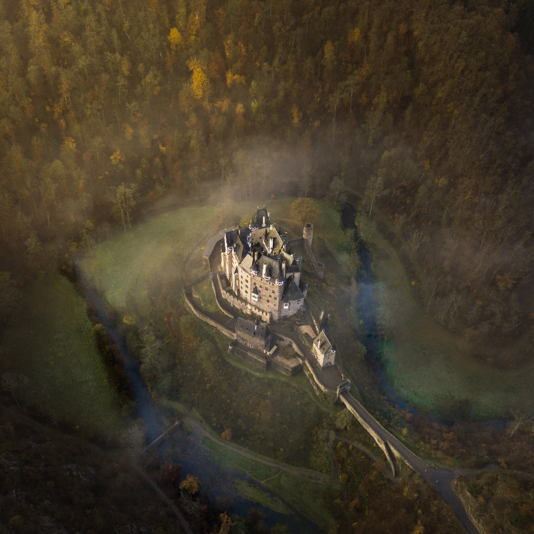 Castle on remote rise in a forest, accessible by a single road.