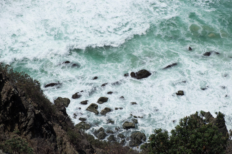 sea waves on black rock formations near green leaf tree